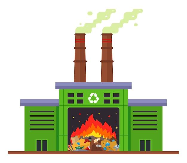 Instalação de incineração de resíduos e emissão de substâncias nocivas para a atmosfera. ilustração plana