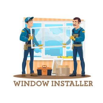 Instalação de janela. trabalhadores da construção civil, ferramentas