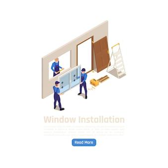 Instalação de novas janelas de vidro em pvc para construção civil