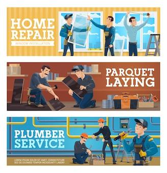Instalação de pisos e banners de serviço de encanador