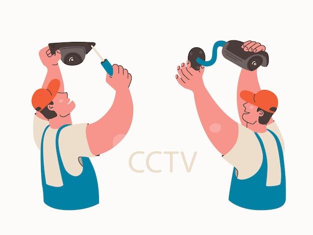 Instalação de videovigilância profissional instala câmera de segurança de vídeo instalando cctv