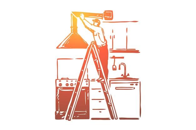 Instalação do exaustor, trabalhador manual em pé na ilustração da escada