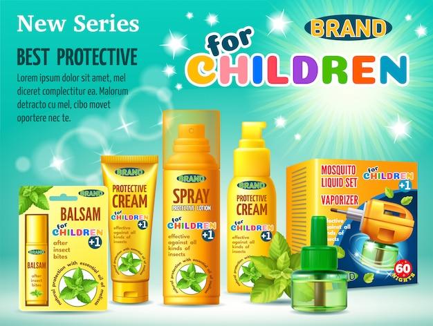 Instalações de proteção contra insetos para crianças.