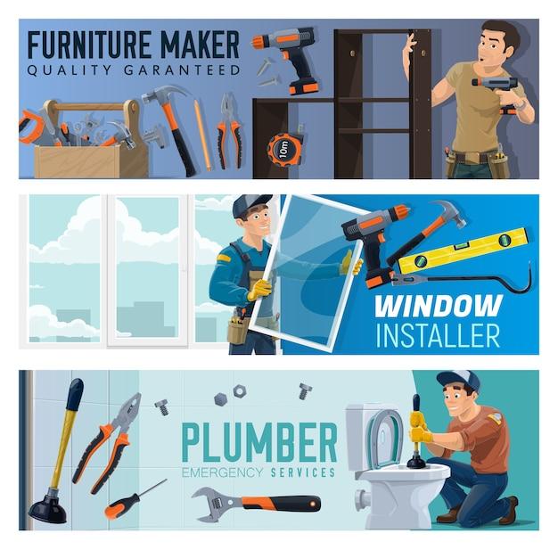 Instalador de janelas para fabricantes de móveis e banners de serviço de encanador