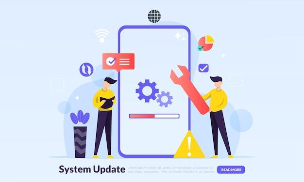 Instalando processo de atualização, programa de atualização, instalação de rede de dados