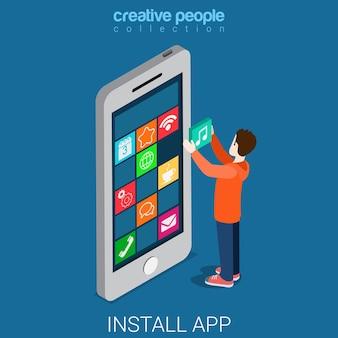 Instalar, baixar, obter aplicativo móvel isométrico plano