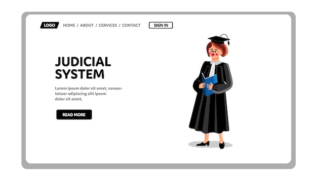 Instituição governamental do sistema judiciário Vetor Premium
