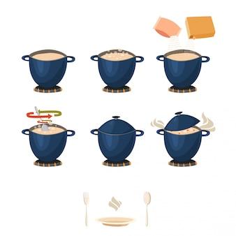 Instrução de culinária visual faseada