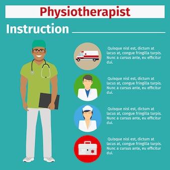 Instrução de equipamento médico para fisioterapeuta