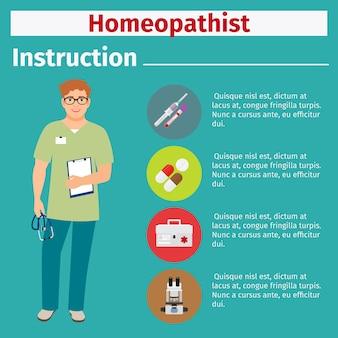 Instrução de equipamento médico para homeopata