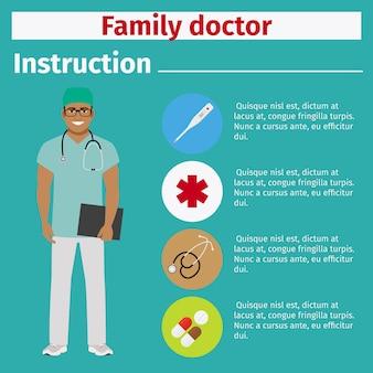 Instrução de equipamento médico para médico de família