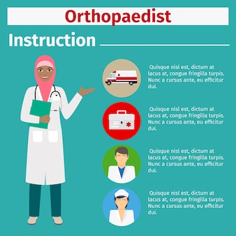 Instrução de equipamento médico para ortopedista