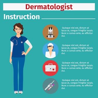 Instrução de equipamentos médicos para dermatologista