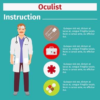 Instrução de equipamentos médicos para oculista