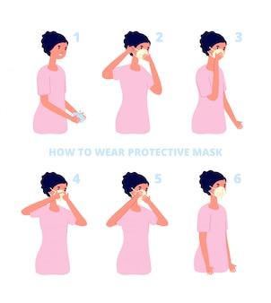 Instrução de máscara protetora. proteção contra vírus ou poluição, prevenção individual da gripe. saúde de coronavírus proteger ilustração