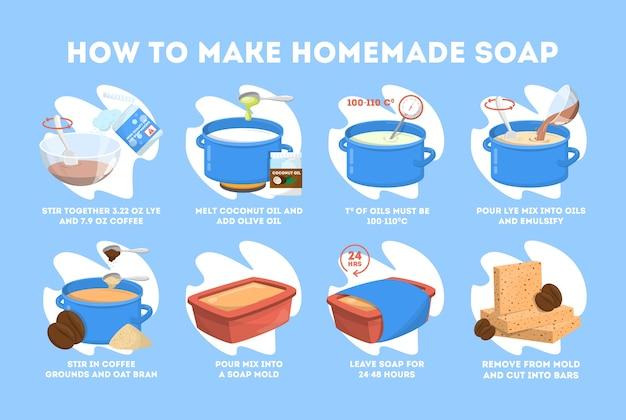 Instrução de sabonete artesanal para banho e beleza.