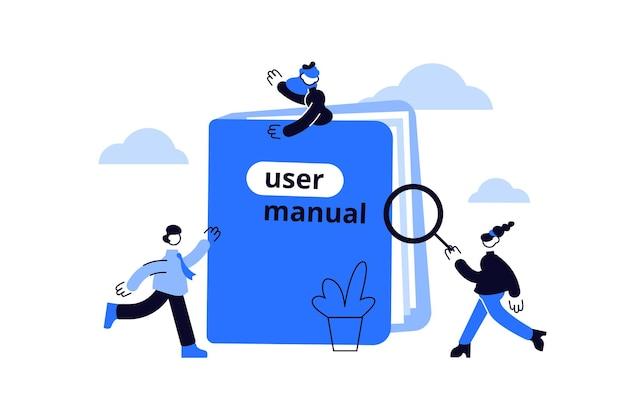 Instrução do livro manual ou guia de ajuda do manual