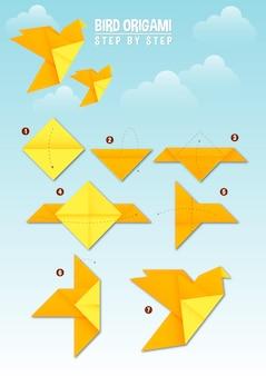 Instrução passo a passo do pássaro origami