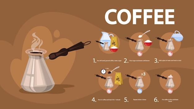 Instruções de como fazer uma bebida de café
