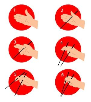Instruções de como usar os pauzinhos chineses ou japoneses comer comida asiática com guia de ferramentas especiais