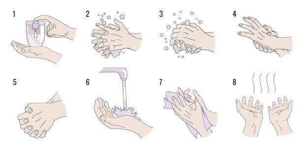 Instruções de lavagem das mãos.