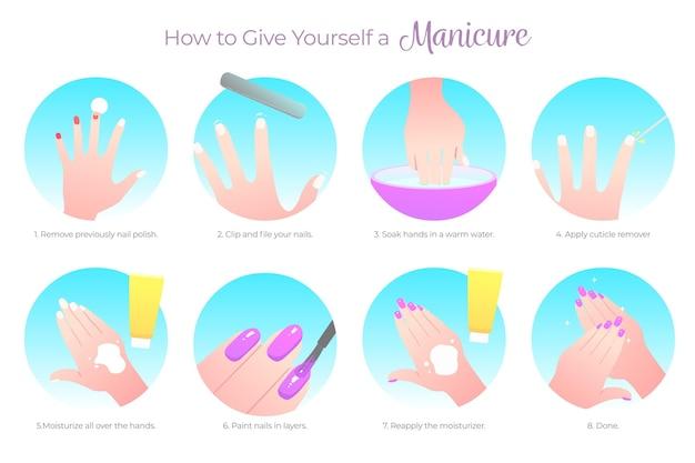 Instruções de manicure