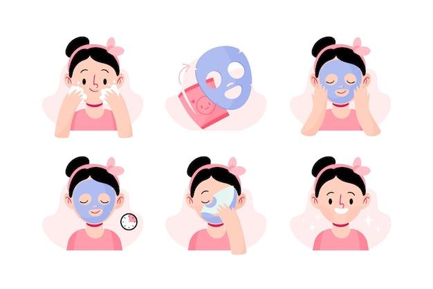 Instruções de máscara de folha ilustradas