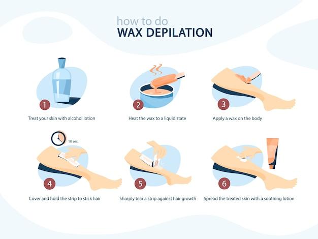 Instruções de perna de cera. depilação com cera