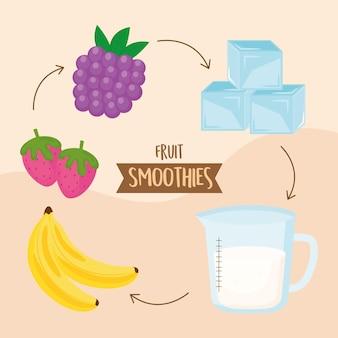 Instruções de preparação de ingredientes para smoothies de frutas
