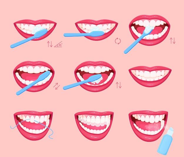 Instruções para escovar os dentes