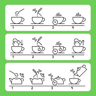 Instruções para preparar o chá. preparando bebida quente verde ou preta com bolsa