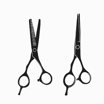 Instrumento de cabeleireiro preto e branco