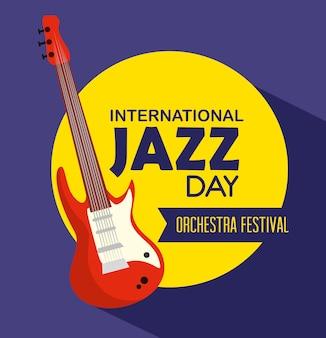 Instrumento de guitarra elétrica para o dia do jazz