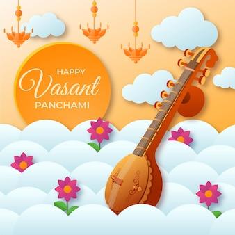Instrumento de guitarra feliz vasant panchami