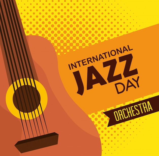 Instrumento de guitarra para o festival internacional de jazz