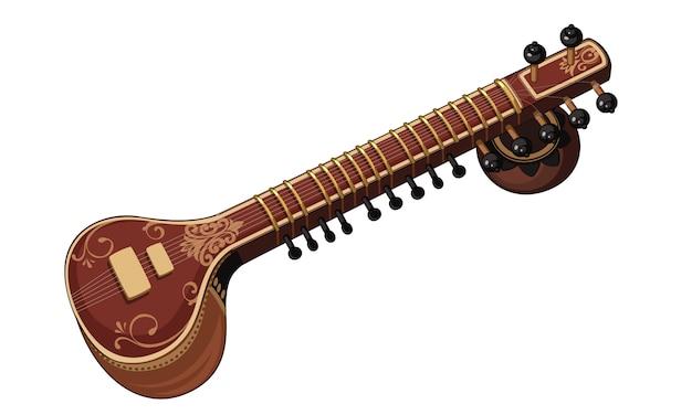 Instrumento de música clássica sitar bonito