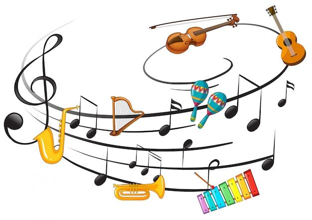 Instrumento de música com nota de música