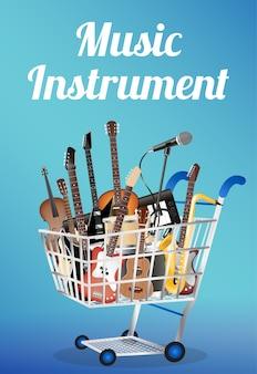 Instrumento de música em um carrinho de compras