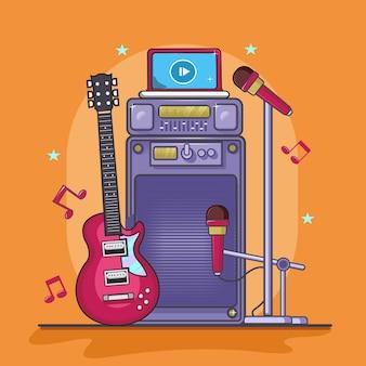 Instrumento de música, guitarra, microfone e som com laptop
