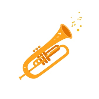 Instrumento de música vetorial de ilustração plana de trompete