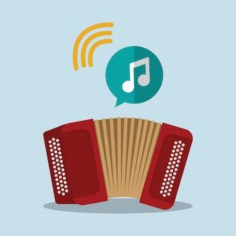 Instrumento de som música acordeão