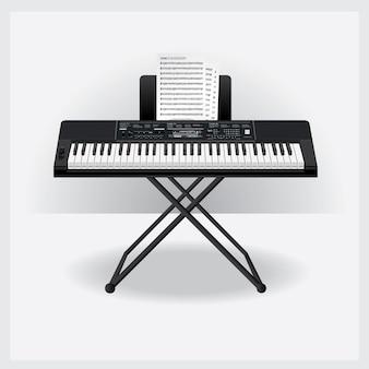 Instrumento de teclado com ilustração em vetor de nota de música