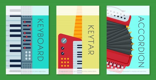 Instrumento de teclado musical tocando cartões de modelo de equipamento de sintetizador.