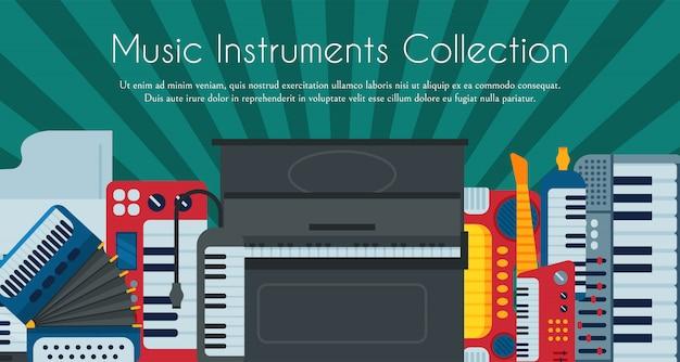 Instrumento de teclado musical tocando ilustração de equipamento de sintetizador