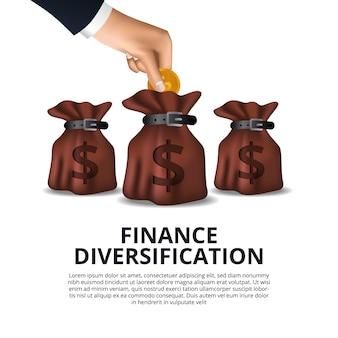 Instrumento financeiro diversificação da gestão de dinheiro fundo de capital