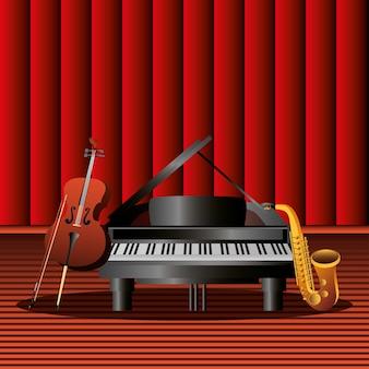 Instrumento musical de piano, saxofone e violoncelo no palco, ilustração detalhada