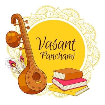Instrumento musical desenhado à mão e pilha de livros