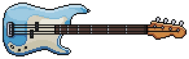 Instrumento musical pixel art guitar. item de jogo de bits