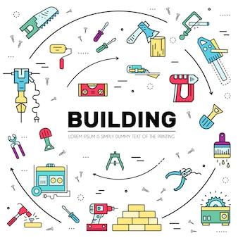 Instrumentos de construção com qualquer conjunto de elementos.
