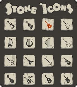 Instrumentos de corda em blocos de pedra nos ícones da web no estilo da idade da pedra para design de interface de usuário